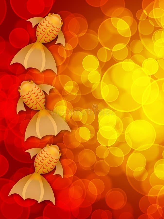 bakgrund suddighet utsmyckad guldfiskred tre vektor illustrationer