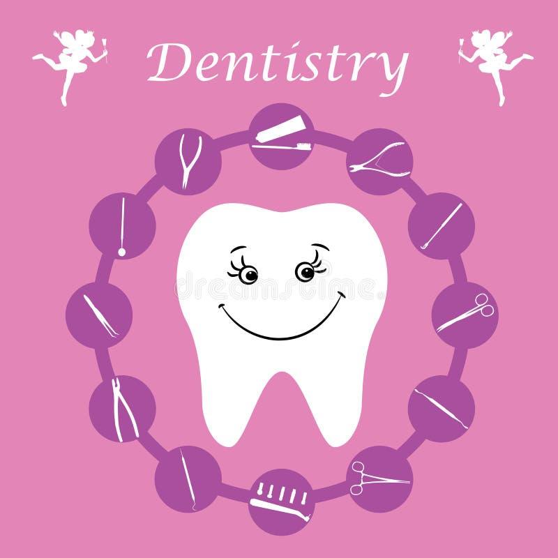 Bakgrund tänder, tand- instrument, tandvård stock illustrationer