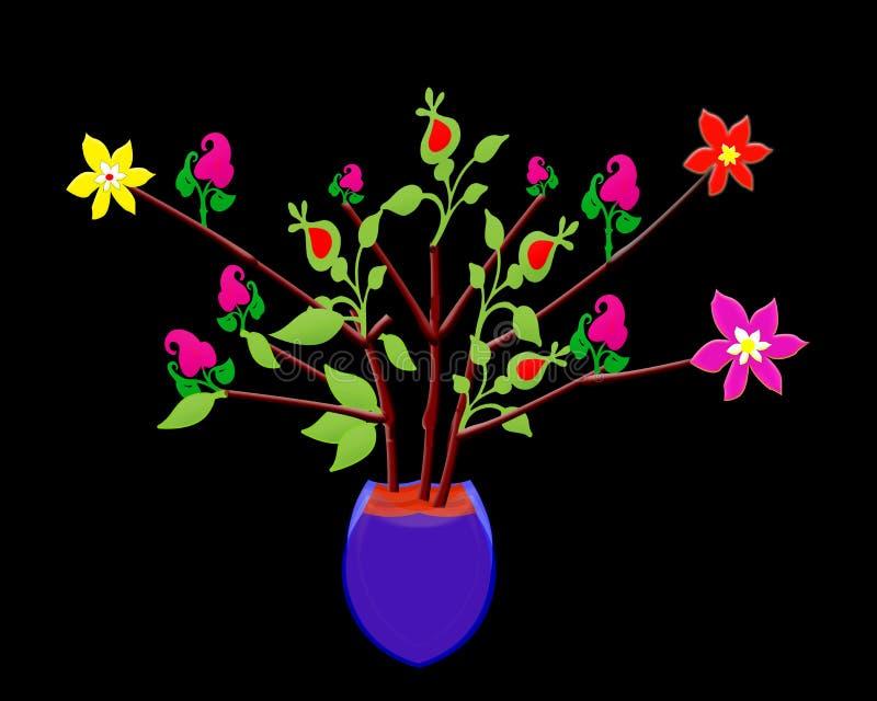 Bakgrund tapet, blommaträd, städ, röd skalleblomma, guling, grön design royaltyfria foton