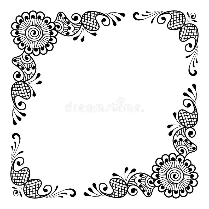 bakgrund tecknad blom- hand stock illustrationer