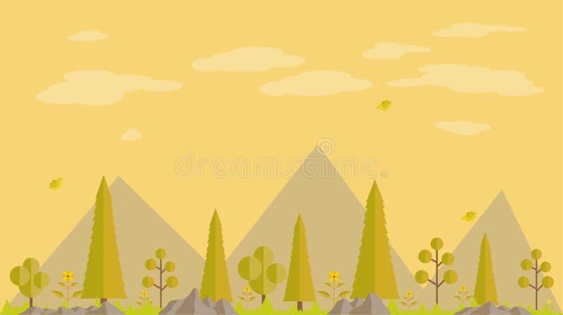 Bakgrunden av den plana designen för vårskog i eftermiddagen royaltyfri illustrationer