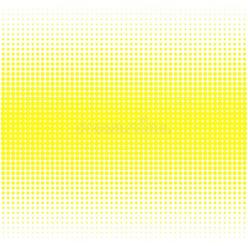 Bakgrunden av gula prickar av olika format har olik täthet på vit stock illustrationer