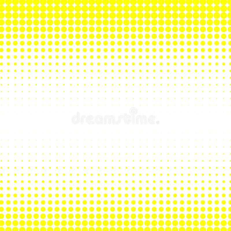 Bakgrunden av gula prickar av olika format har olik täthet på viten royaltyfri illustrationer