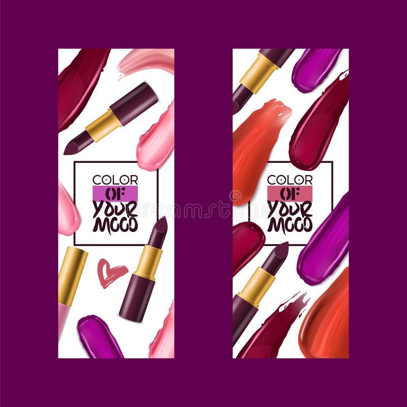 Bakgrunden in för illustrationen för konst för makeup för kanten för lipgloss för härligt mode för röd färg för läppstiftmodellve royaltyfri illustrationer
