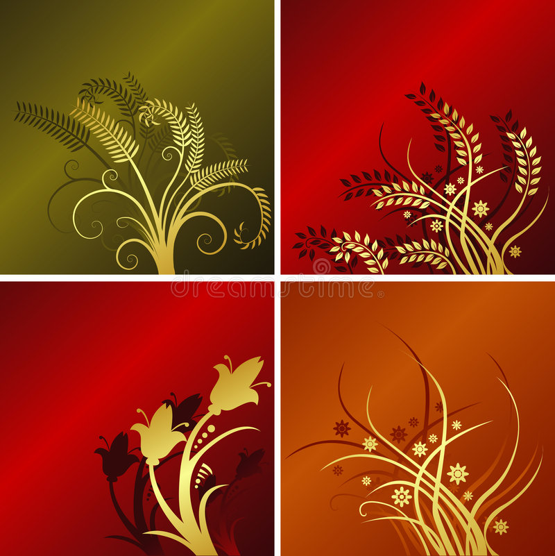 bakgrunder blom- fyra stock illustrationer