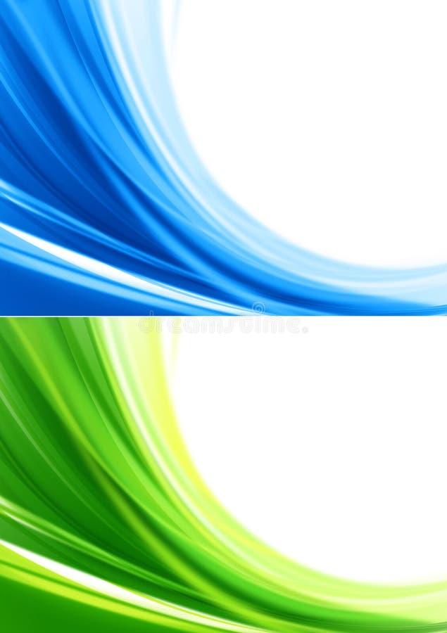 Bakgrunder för blå och grön färg stock illustrationer