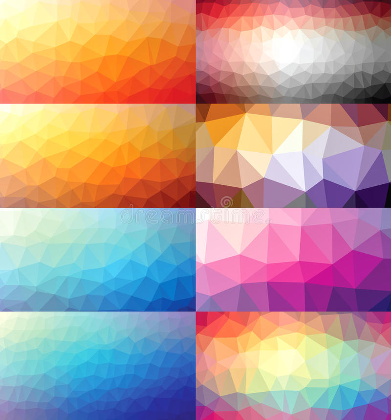 Bakgrunder för färgrik uppsättning för samling polygonal royaltyfri illustrationer