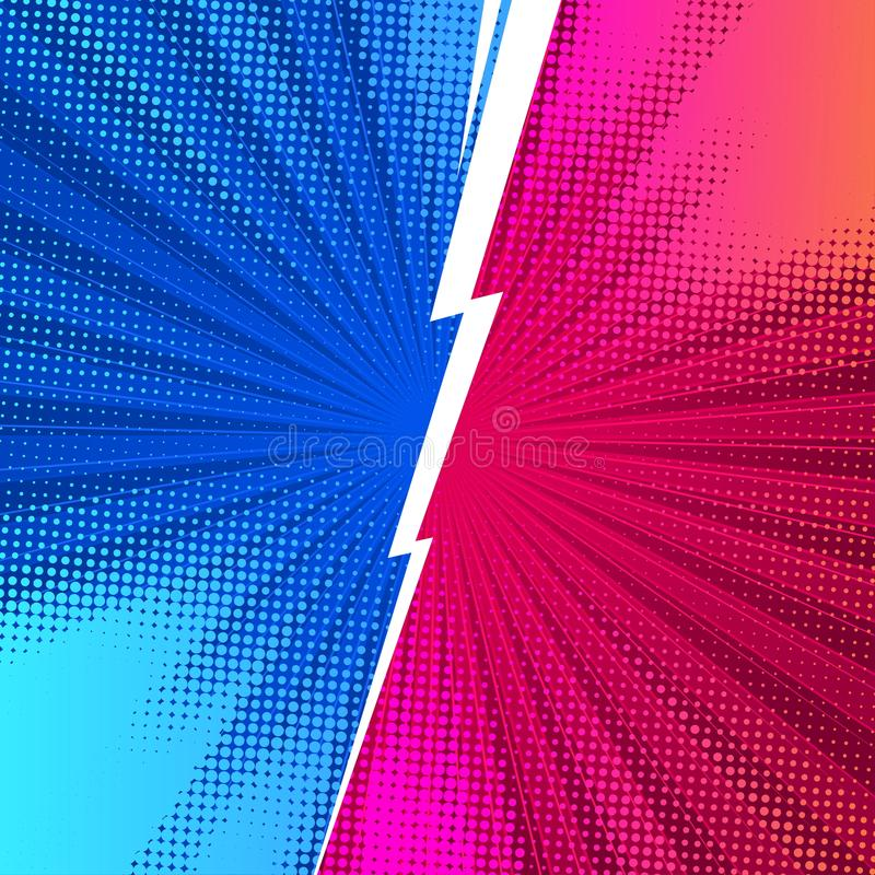 Bakgrunder för kampkomikerstil med blixt kontra VS vektor illustrationer