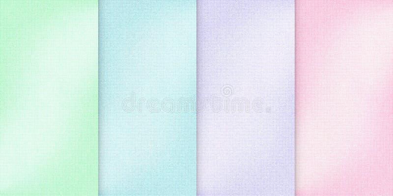 Bakgrunder för ljus färg för vektor olika, realistisk torkdukeillustration, uppsättning av vertikala baner med tygtextur royaltyfri illustrationer