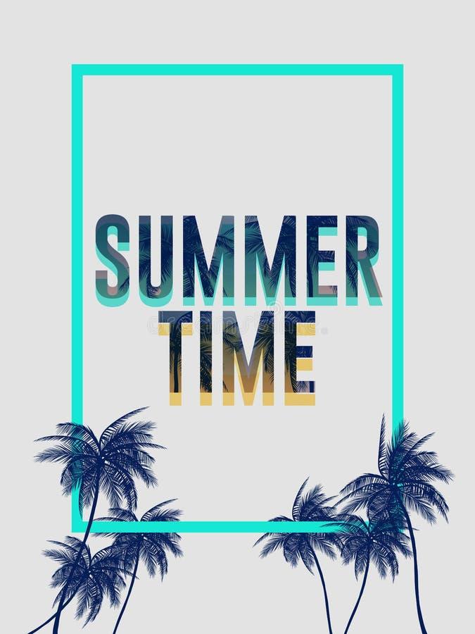 Bakgrunder för sommarKalifornien tumblr ställde in med gömma i handflatan, himmel och solnedgången Kort för inbjudan för reklambl vektor illustrationer