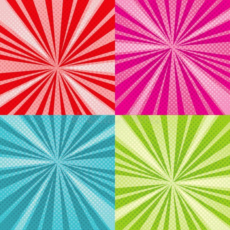 Bakgrunder in för vektor för konst för pop för Sunburststrålar ställde komiska med rastrerade rasterlutningar vektor illustrationer