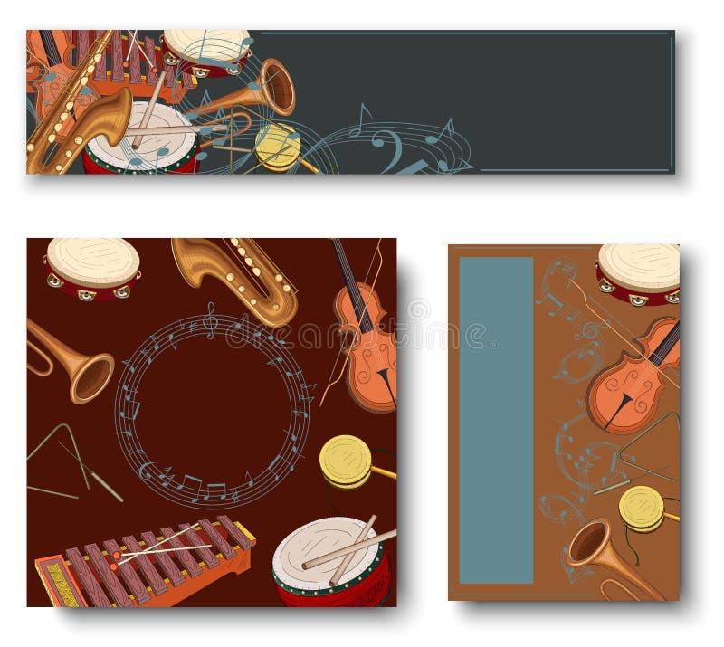 Bakgrunder med anmärkningar och färgrika musikinstrument vektor illustrationer