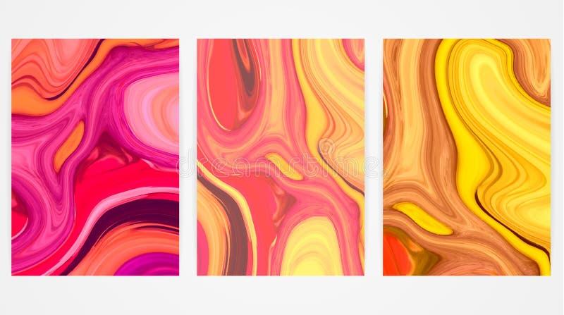 Bakgrunder med att marmorera som bakgrund är kan marmorera använd textur Ljus målarfärgfärgstänk Färgrik vätska stock illustrationer