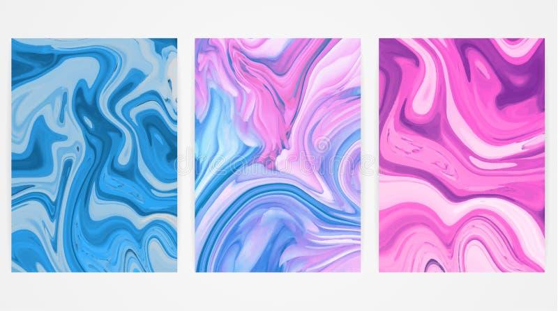Bakgrunder med att marmorera som bakgrund är kan marmorera använd textur Ljus målarfärgfärgstänk Färgrik vätska royaltyfri illustrationer
