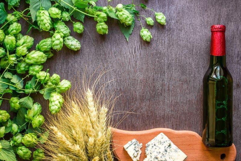 bakgrundsöl innehåller lutningingreppet Nytt öl och den salta osten på en trätabell Top beskådar royaltyfria bilder