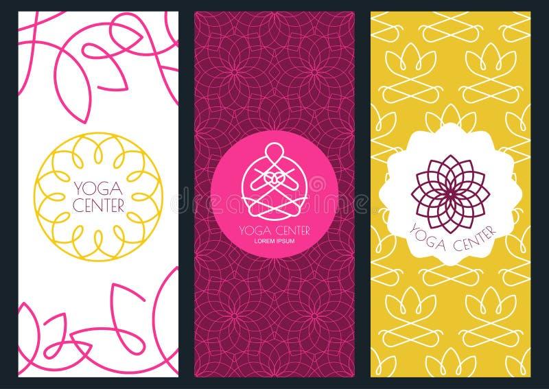 Bakgrunds-, reklamblad- eller banermall för för yogastudio, skönhet royaltyfri illustrationer