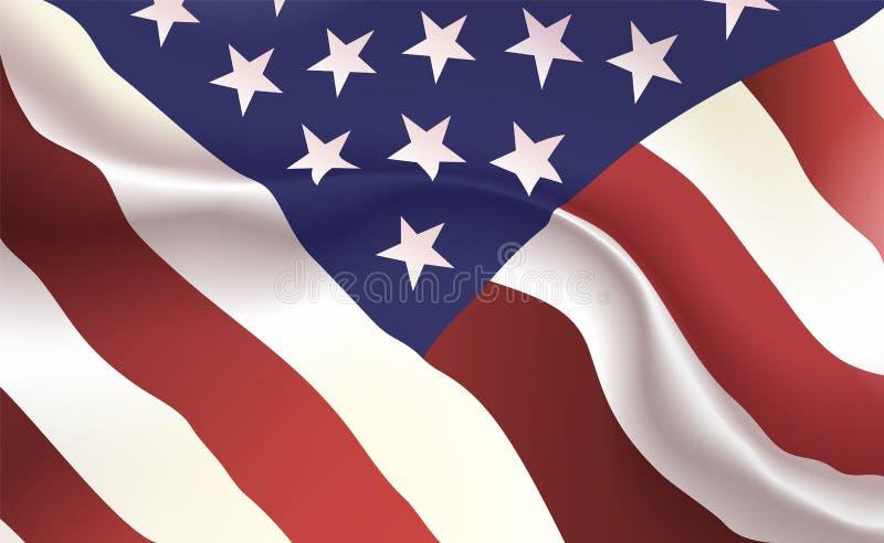 Bakgrundsamerikanska flaggan i veck Stjärna-Spangled baner Standert med slut för stjärnabandbegrepp upp, standarda USA förenade t royaltyfri illustrationer