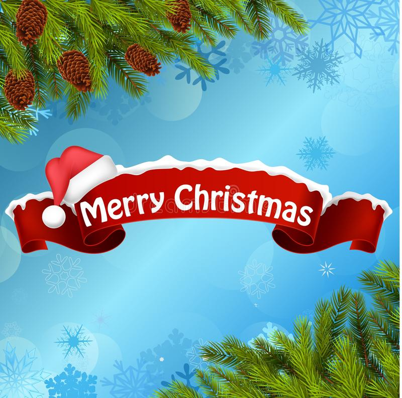 Bakgrundsbaner för glad jul och julträd vektor illustrationer