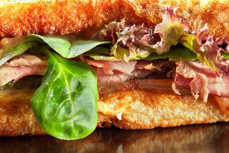 Bakgrundsbild av buntsmörgåsar med skinka fotografering för bildbyråer