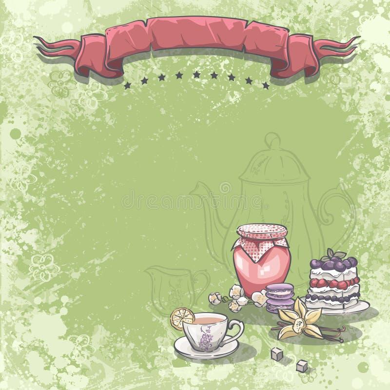 Bakgrundsbilden med en kopp te, driftstoppkakan och vanilj blommar vektor illustrationer