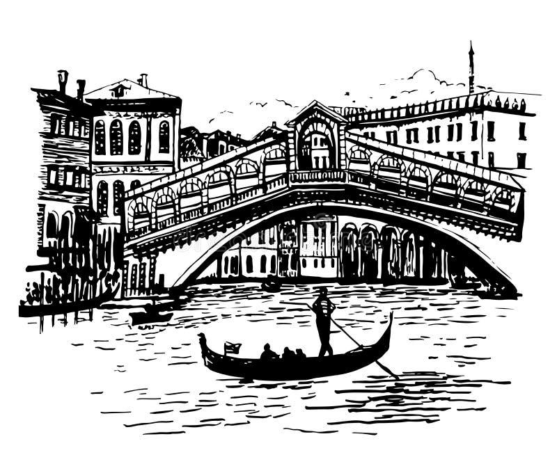 Bakgrundsbildsikt av lagun, den Rialto bron och gondoljären i Venedig vektor illustrationer