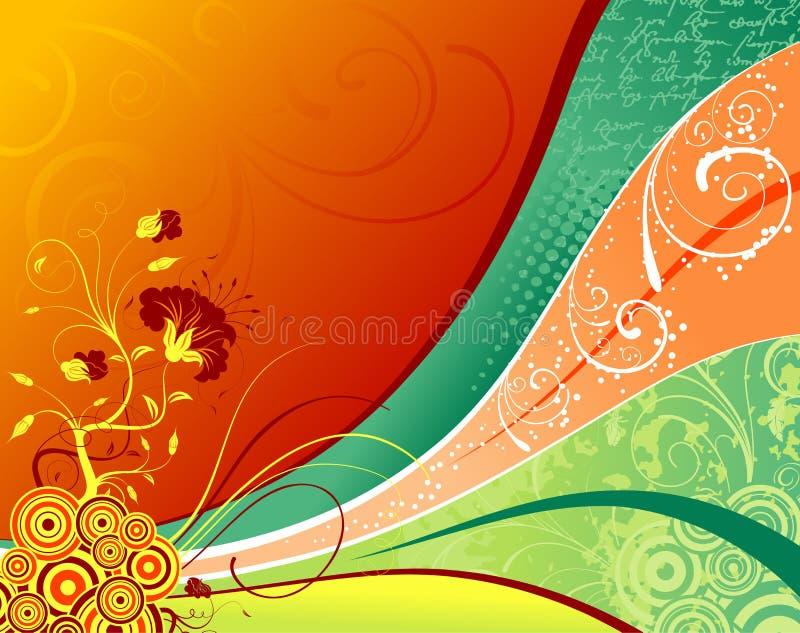 bakgrundsblommagrunge stock illustrationer