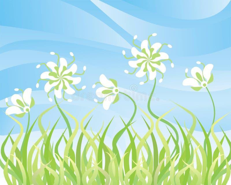 bakgrundsblommor gräs skyvektorn royaltyfri illustrationer