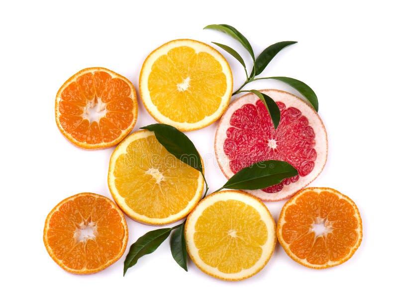 bakgrundscitrusfrukter isolerade white Isolerade citrusfrukter Stycken av mandarinen, den rosa grapefrukten och apelsinen royaltyfria bilder