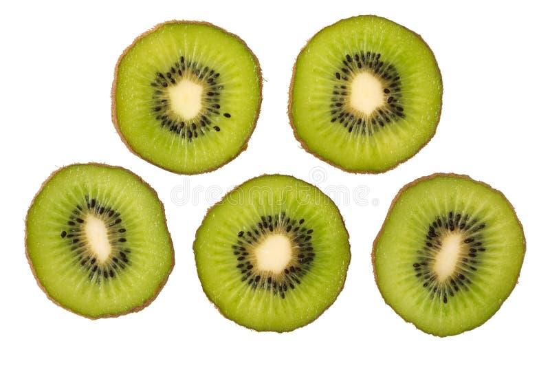 bakgrundsclosefrukt isolerade kiwien över övre white Skiva av ny kiwi arkivfoton