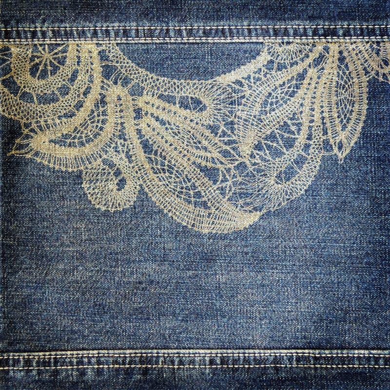 Bakgrundsdenim texturerar med snör åt mönstrar arkivfoto
