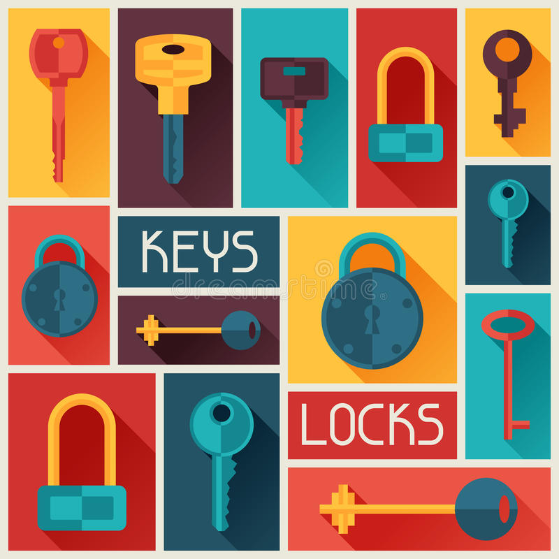Bakgrundsdesign med lås och tangentsymboler royaltyfri illustrationer