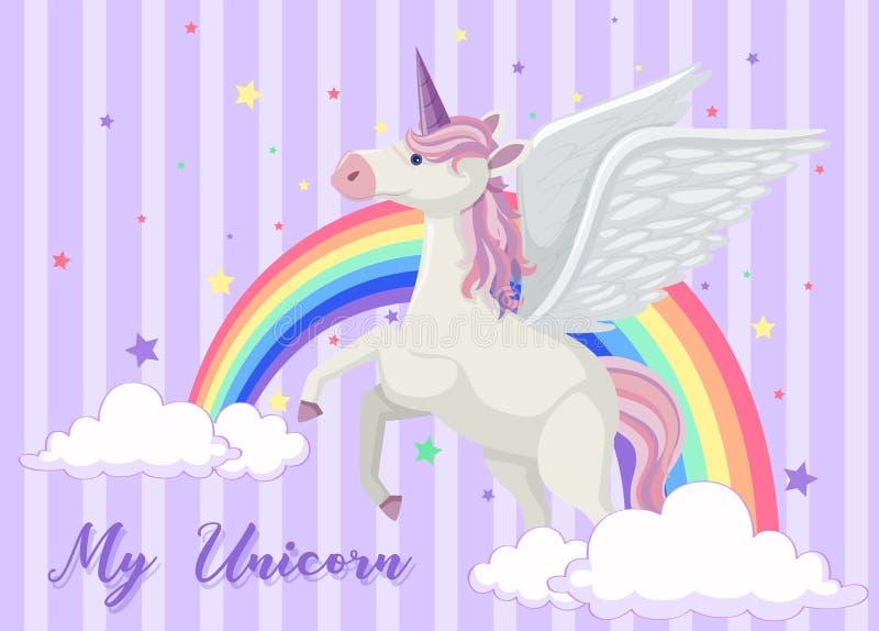 Bakgrundsdesign med regnbågen och enhörningen stock illustrationer