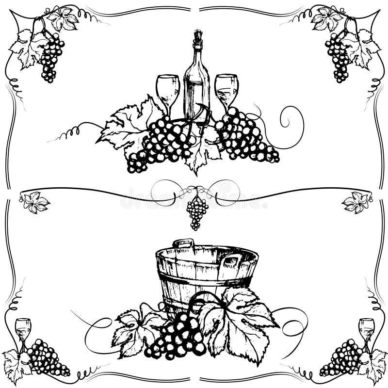 bakgrundsdruva stock illustrationer