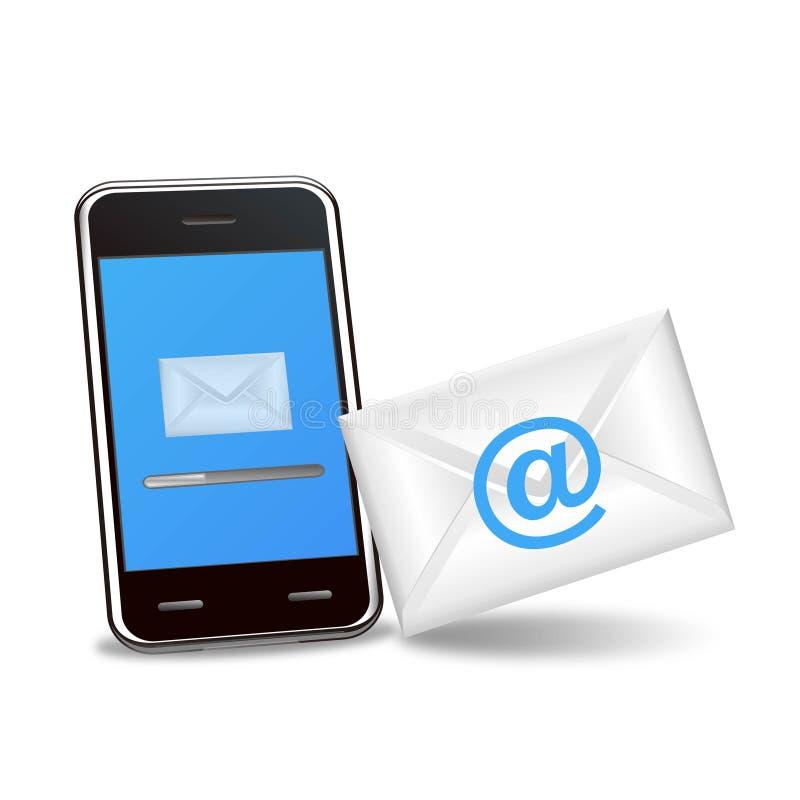 bakgrundse-posttelefon som överför smart white royaltyfri illustrationer