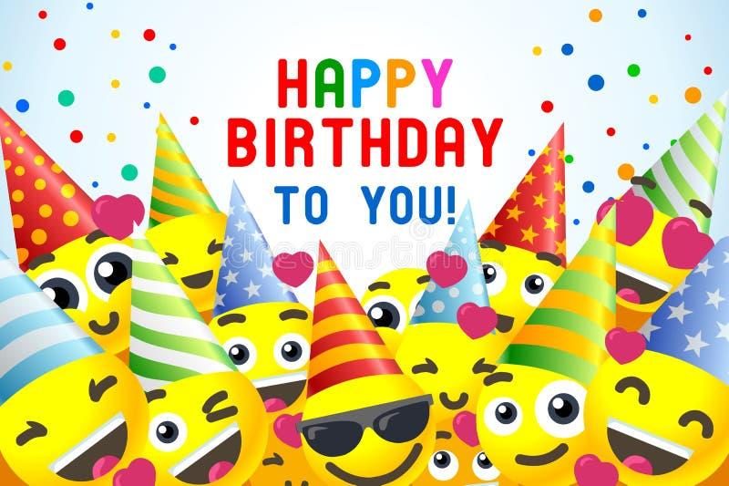 BakgrundsEmojii för lycklig födelsedag gyckel royaltyfri illustrationer
