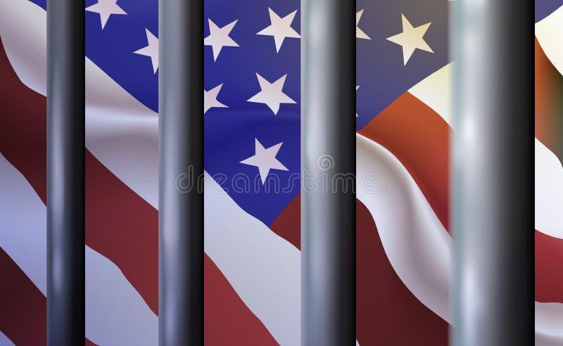Bakgrundsf?ngelse, arrest i Amerikas f?renta stater F?rtryckande och undertryckande straff- system av f?rsening, insp?rrning bako stock illustrationer