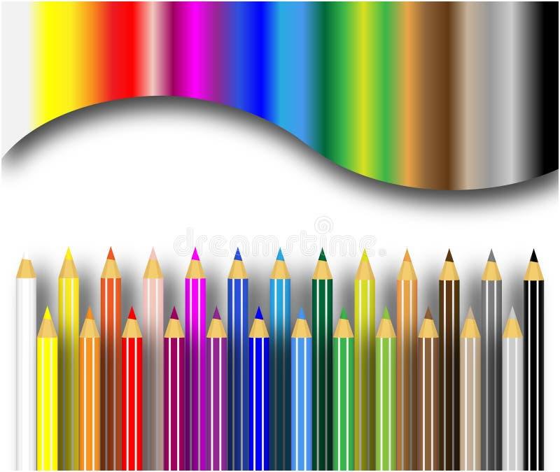 bakgrundsfärgblyertspennor royaltyfri illustrationer