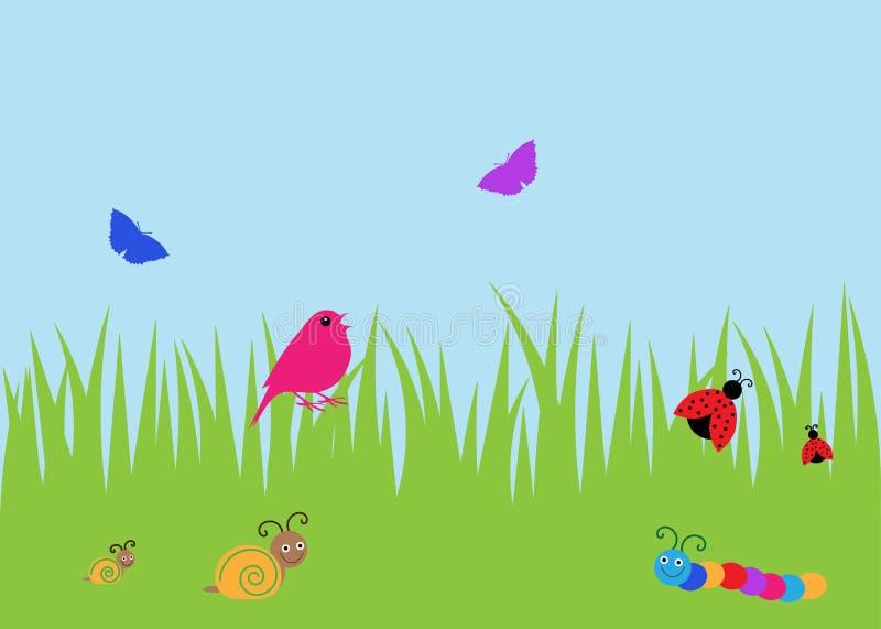 bakgrundsfågeln bugs sommar stock illustrationer