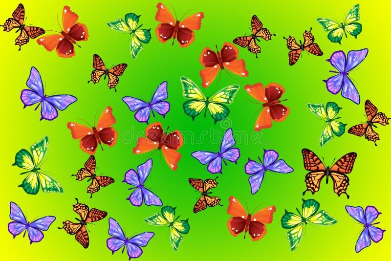 bakgrundsfjärilar stock illustrationer