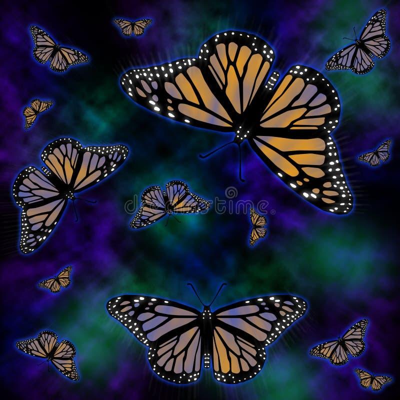 bakgrundsfjärilsmonark stock illustrationer