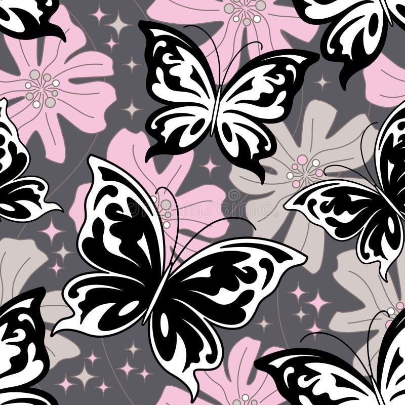 bakgrundsfjärilsnatt stock illustrationer