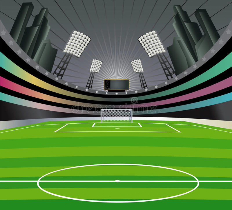 bakgrundsfotbollstadion royaltyfri illustrationer