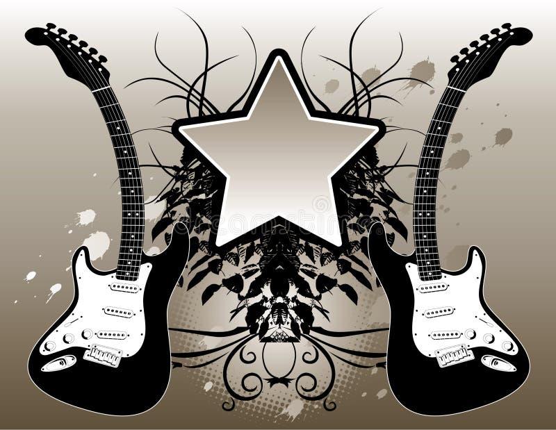 bakgrundsgitarrmusik royaltyfri illustrationer