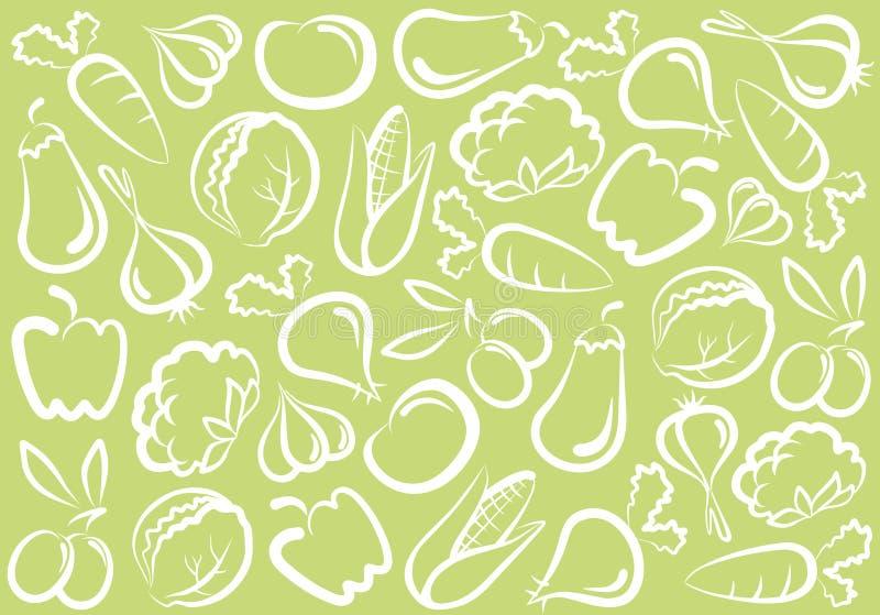 bakgrundsgrönsak royaltyfri illustrationer