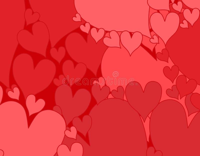 bakgrundshjärtor pink rött enkelt royaltyfri illustrationer
