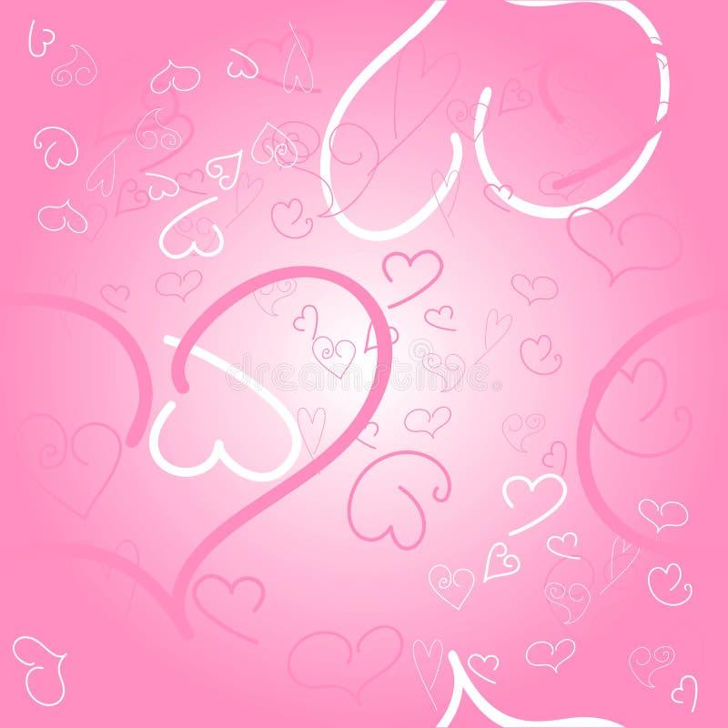 bakgrundshjärtor pink seamless stock illustrationer