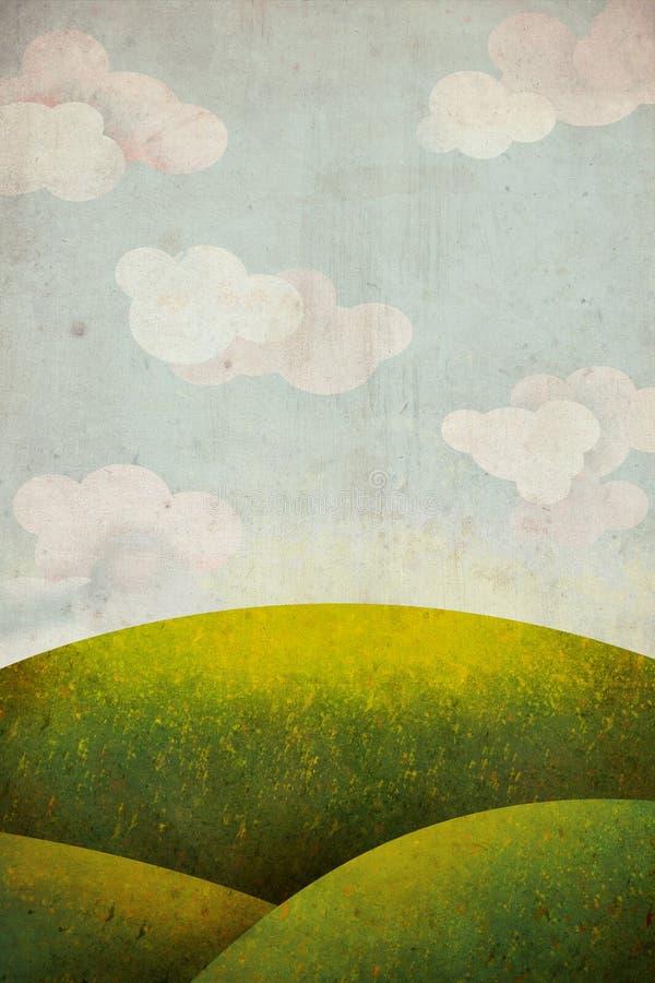 Grön gräsäng med skyen och moln royaltyfri illustrationer