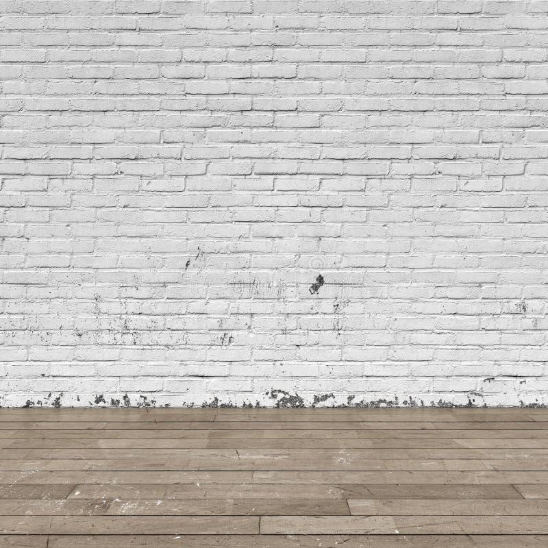 Bakgrundsinre: tegelstenvägg och trägolv arkivfoton