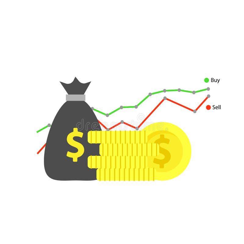 Bakgrundsinternet som packar ihop kontorsillustrationen Design för företags affär för vinstbetalning Finansiell symbolutbyteskapa royaltyfri illustrationer