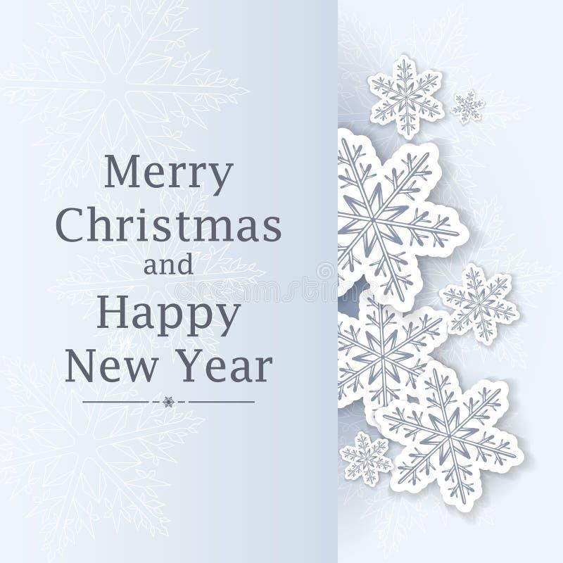 bakgrundsjulen isolerade vita snowflakes Hälsningskort eller inbjudan lyckligt glatt nytt år för jul royaltyfri illustrationer